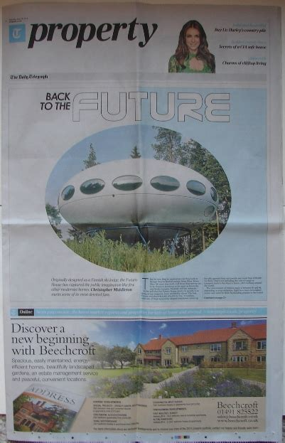 Saturday Telegraph Property Section by The Futuro House In The Press And On Loan Information Photographs History Maps