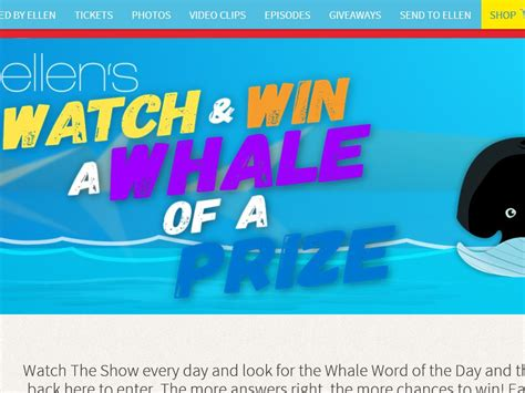 Ellen Mattress Giveaway - ellen s mattress firm watch and win a whale of a prize contest sweepstakes fanatics