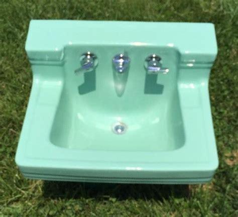 high back wall mount sink vintage porcelain high back jadite green wall mount sink
