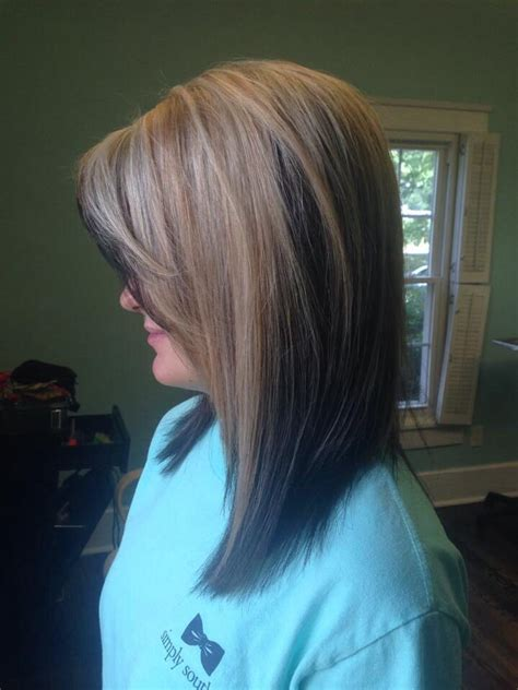 hairstyles with color panels blonde panel over brown hair color long bob by hillary