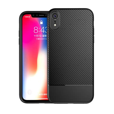 bakeey carbon fiber fingerprint resistant soft tpu protective for iphone xr 6 1 alexnld