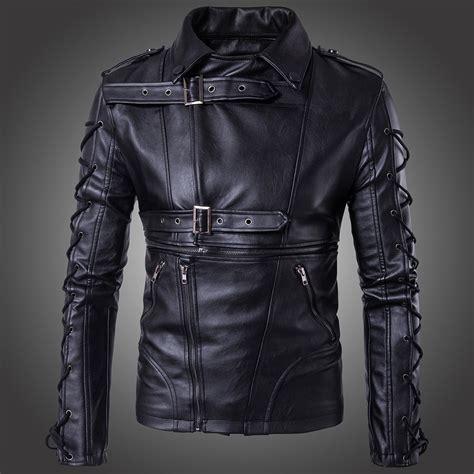men s pull on motorcycle men s punk zipper lace up faux leather motorcycle biker