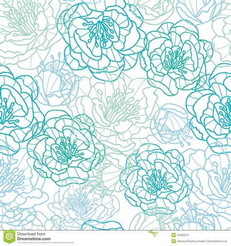pattern line flower blue line art flowers seamless pattern background stock