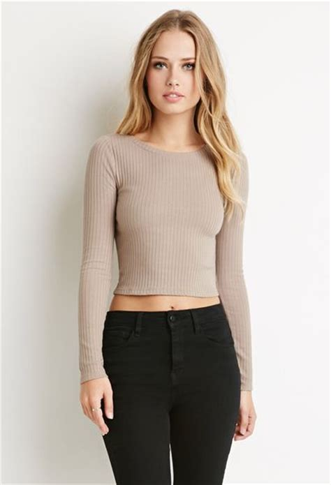 Ribbed Top forever 21 ribbed knit crop top in brown taupe