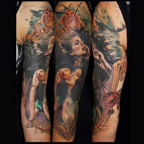 realistic sleeve tattoo realistic sleeve by juan design of