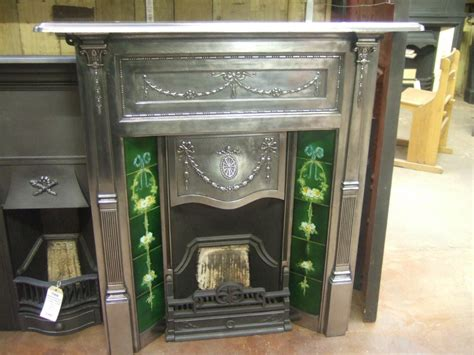 Fully Polished Cast Iron Edwardian Tiled Fireplace   132TC