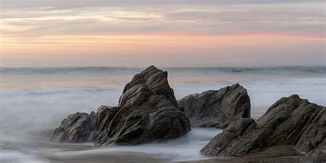 Marine Shower Curtain Mist Surrounding Rocks In The Ocean Photograph By Keith Levit