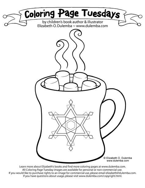 dulemba coloring page tuesdays hot chocolate