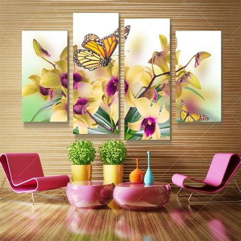 4 panel butterfly flower canvas wall painting modern printed cuadros decoracion wall