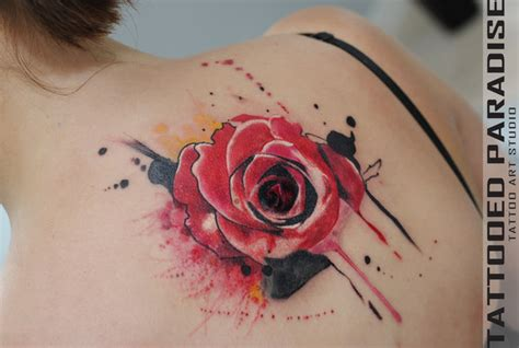 watercolor tattoo yellow rose tattooo artist aleksandra katsan by tattooedparadise on
