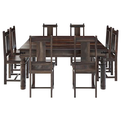 Dining Table Chair Set Richmond Rustic Solid Wood Large Square Dining Room Table Chair Set