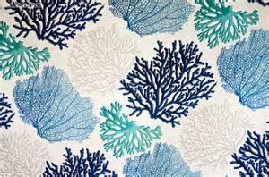 Coastal Marine Upholstery Blue Coral Fabric Aqua Ocean Beach Style Fabric
