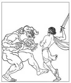 theseus slaying the minotaur coloring page free