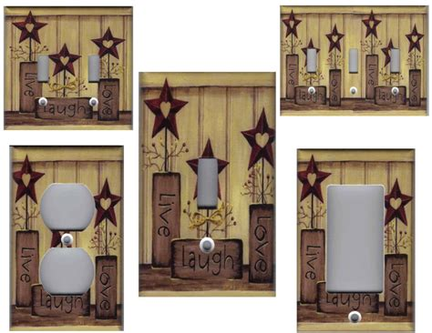 home decor star country barn star live love laugh home wall decor light switch plate ebay