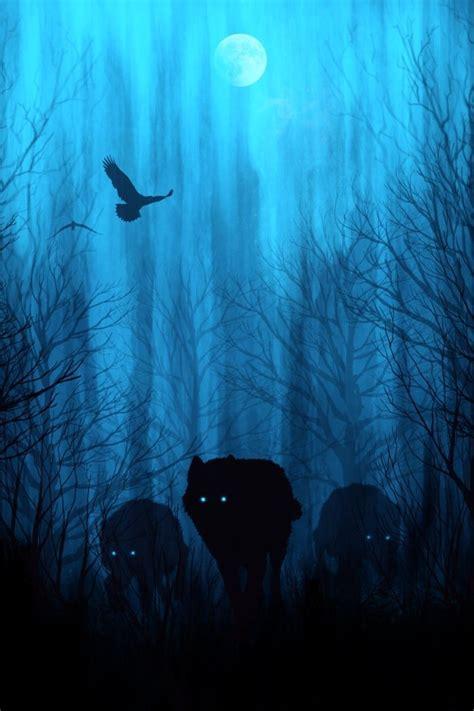 wolf wolves night sky moon mystical art prints