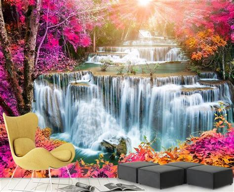 beautiful waterfalls with flowers 3d room wallpaper custom mural photo wallpaper beautiful waterfall flower sunshine wall sticker