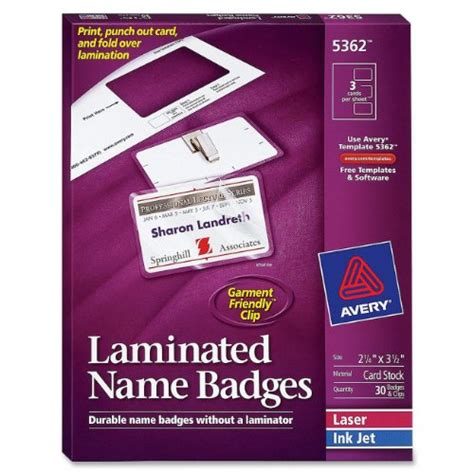 Avery Laminated Name Badges 2 25 X 3 5 Inches White Box Of 30 2 25 X 3 5 Name Badge Template
