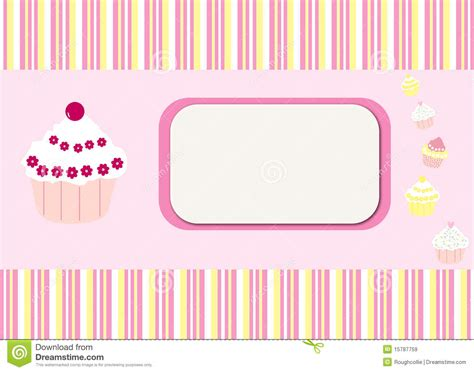 cupcake card template cupcakes stripes card background stock illustration