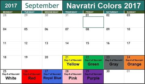 colour of 2017 navratri 2017 colours what color to wear today find