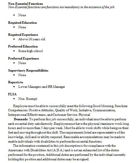 barista description resume