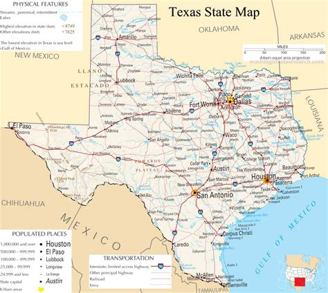 detailed texas map texas state map a large detailed map of texas state usa