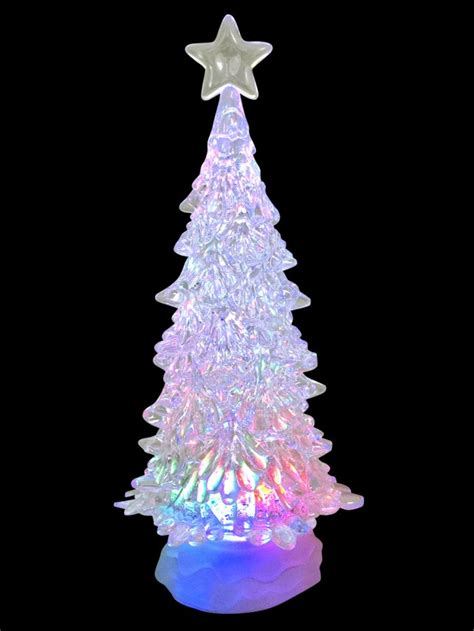 large clear led illuminated tree snowing snow globe