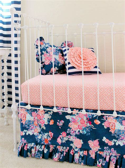 coral and navy crib bedding navy floral crib bedding baby girl bedding coral and navy