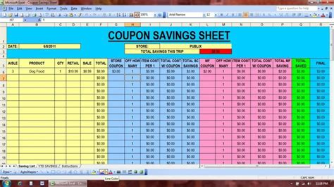 Coupon Spreadsheet by Coupon Savings Spreadsheet Great Idea Budget
