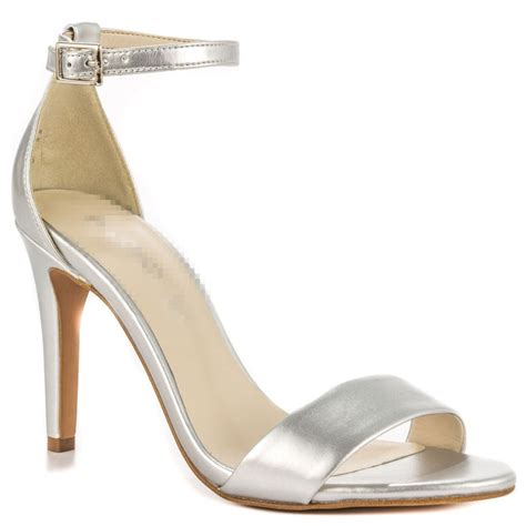 one sandal silver shoes one thin heel open toe simple