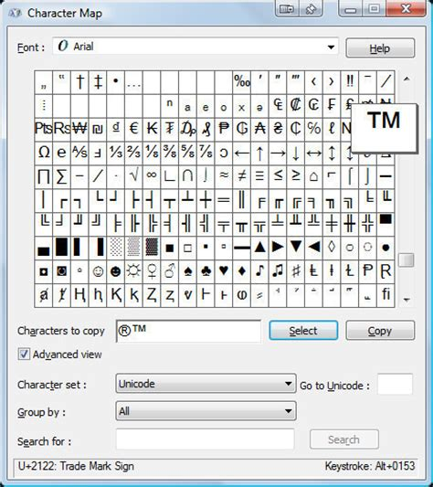 character map maker how to make a trademark tm symbol