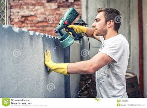 spray painter labourer spray gun vector illustration cartoondealer 3646446