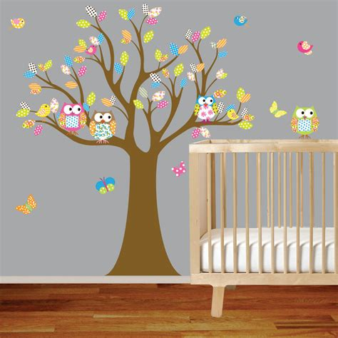owl wall stickers for nursery vinyl wall decal stickers owl tree set nursery by wallartdesign