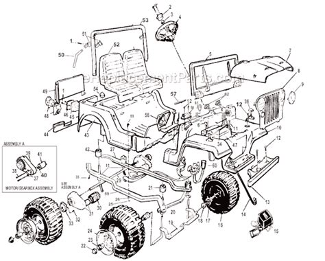 Power Wheels Jeep Parts Power Wheels 76206 86200 Parts List And Diagram