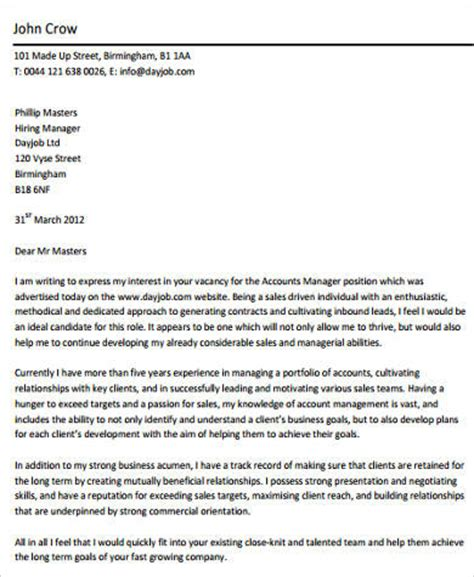 cover letter accounting manager sle accounting cover letter 8 exles in word pdf