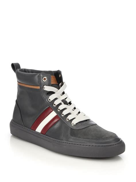 bally sneakers for bally hervey leather high top sneakers in gray for lyst
