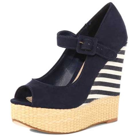 navy striped wedge peep toes from dorothy perkins