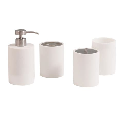 avanity pippa 4 piece bath accessories set in matte white