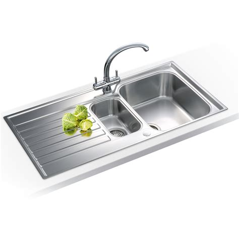 franke kitchen sinks franke ascona 1 5 bowl silk stainless steel kitchen sink waste asx651 ebay