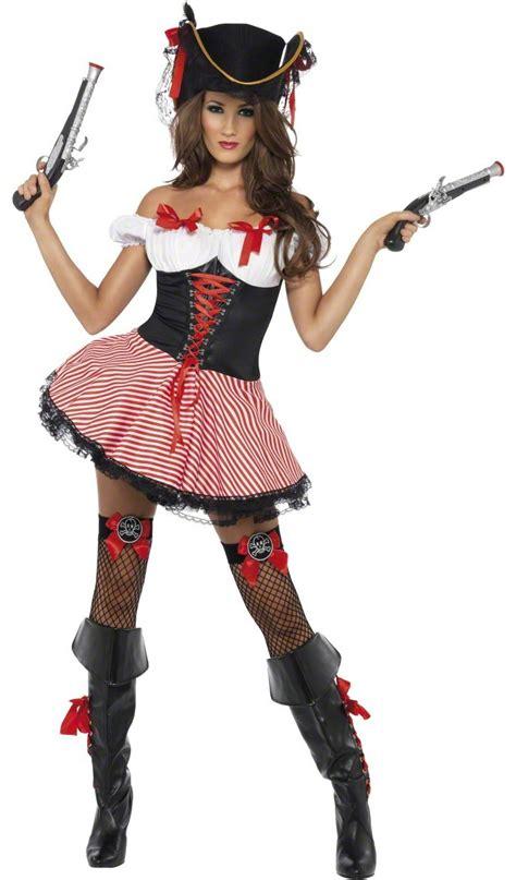 piratin damenkostuem mit schleifen rot schwarz guenstige