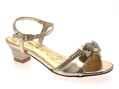 Gold Bridesmaid Sandals by Low Heel Diamante Wedding Bridesmaid Gold