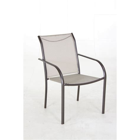Patio Chairs Lowes Shop Garden Treasures Bronze Sling Seat Steel Stackable Patio Dining Chair At Lowes