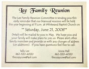 Family Reunion Payment Reminder Letter Invitations Copy Cow Starkville Copy Shop Call Us At 662