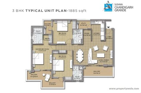 3 bhk floor plan sushma chandigarh grande nh 22 zirakpur apartment flat project propertywala com