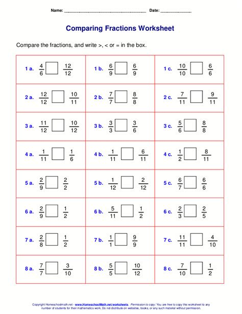 Fractions Worksheets Grade 4 by Equivalent Fractions Year 6 Compare Two Fractions