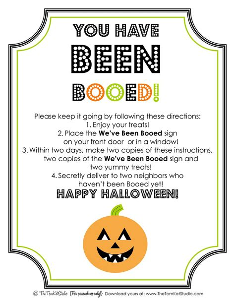 Printable Boo Directions | halloween free printable boo sign instructions the