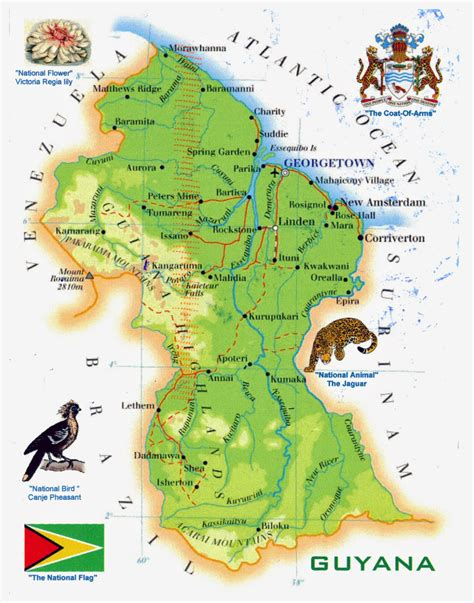 guyana south america map large tourist map of guyana guyana south america