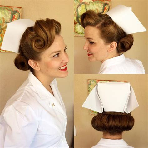 Nursing Graduation Hairstyles With Cap | zoe had to wear a traditional 1940s nurse s uniform for