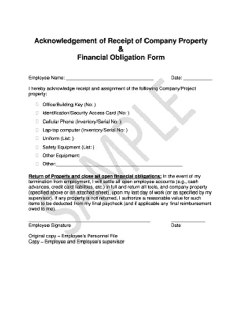receipt of company property template equipment inventory list exle forms and templates