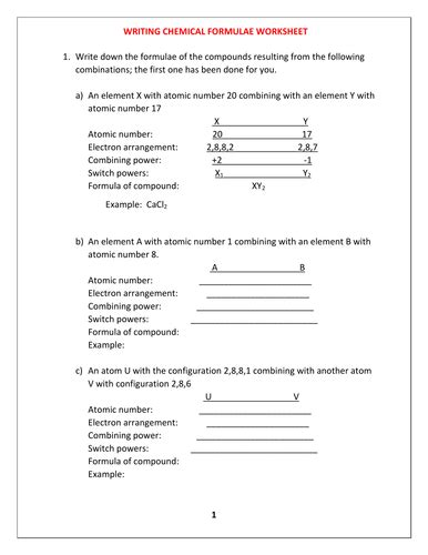 chemical formula worksheet with answers by kunletosin246 teaching resources tes