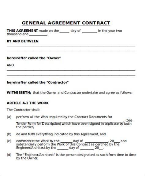 general contractors contract template contractor agreement general sub contractor agreement
